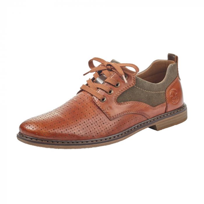 Pantofi barbati din piele naturala Rieker 13417-24, maro 0