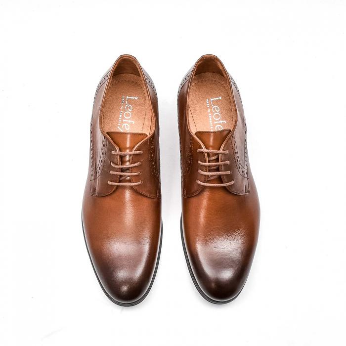 Pantofi barbati eleganti, piele naturala LFX 512, coniac 5