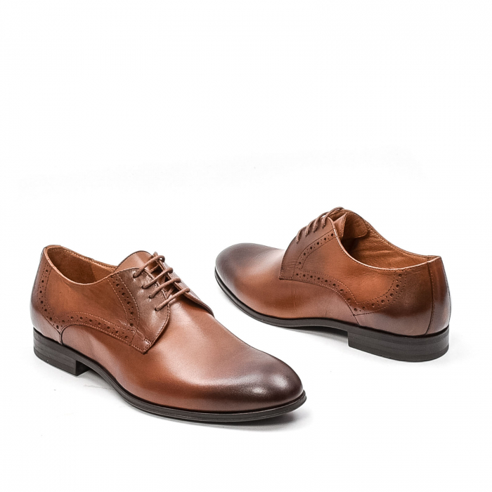 Pantofi barbati eleganti, piele naturala LFX 512, coniac 2