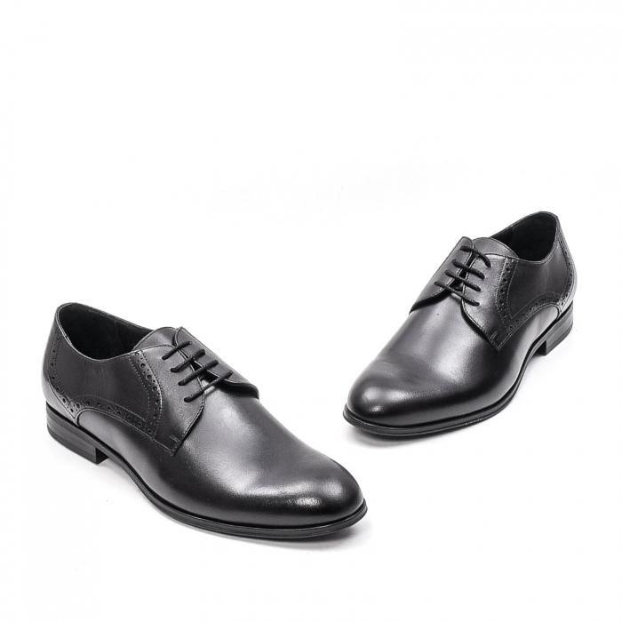 Pantofi eleganti barbat, piele naturala LFX 512, negru 2