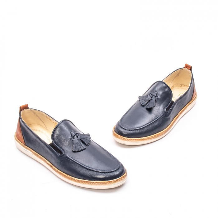 Pantofi barbati casual din piele naturala, 191544STAR, bleumarin 1