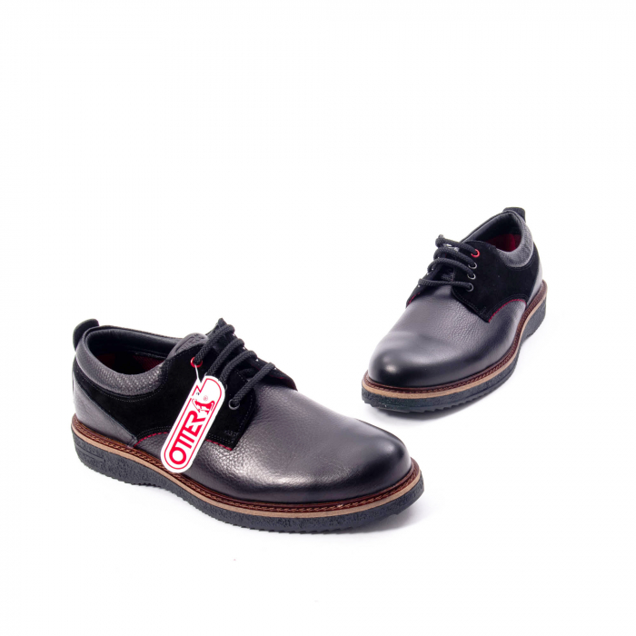 Pantofi barbati casual piele naturala, Otter 020, negru 1