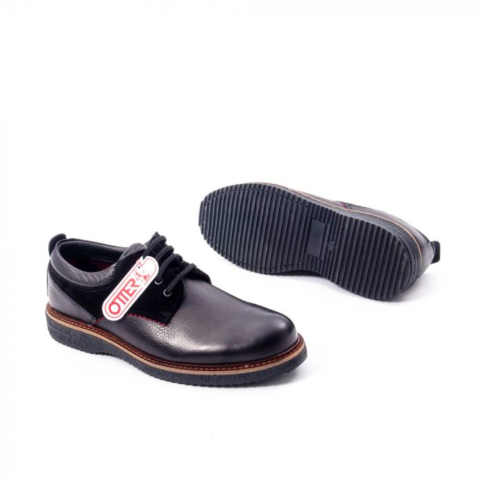 Pantofi barbati casual piele naturala, Otter 020, negru 3