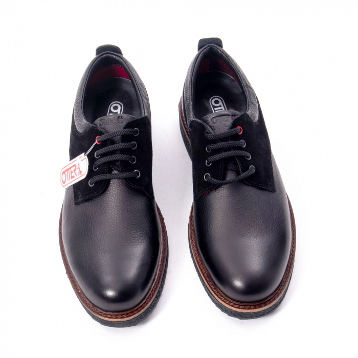 Pantofi barbati casual piele naturala, Otter 020, negru 5