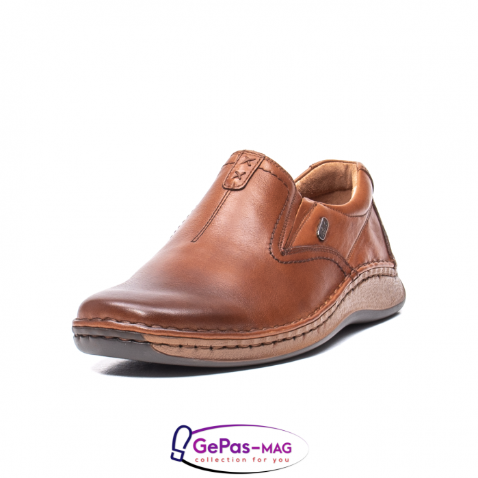 Pantofi casual barbati, piele naturala, LFX 919, coniac [0]