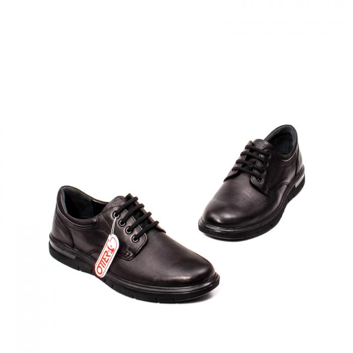 Pantofi barbati casual, piele naturala Otter 2804, negru 1