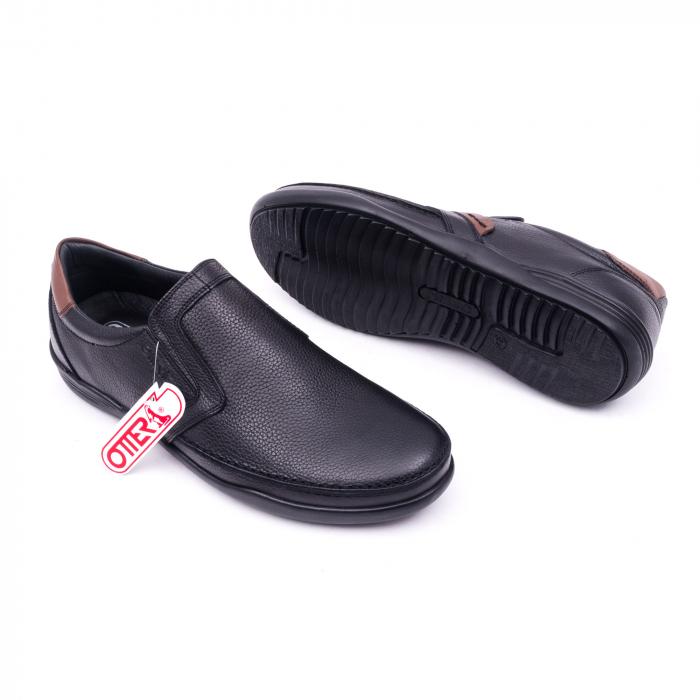 Pantofi barbati casual piele naturala Otter 220, negru 2