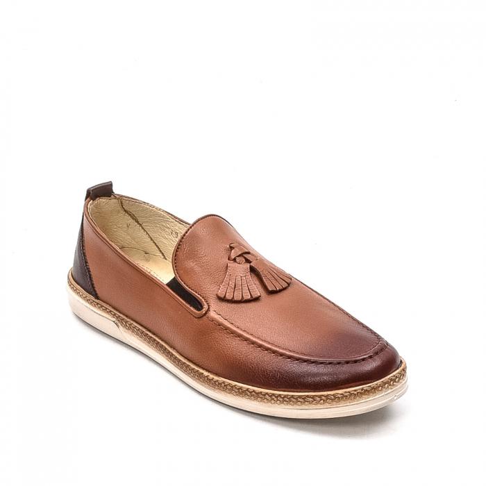 Pantofi barbati casual, piele naturala, 191544STAR, coniac 0