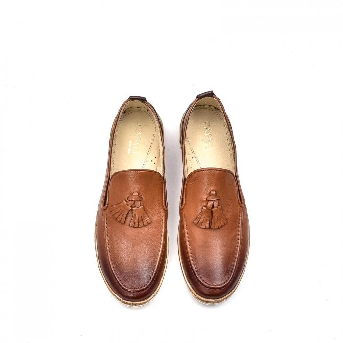 Pantofi barbati casual, piele naturala, 191544STAR, coniac 5