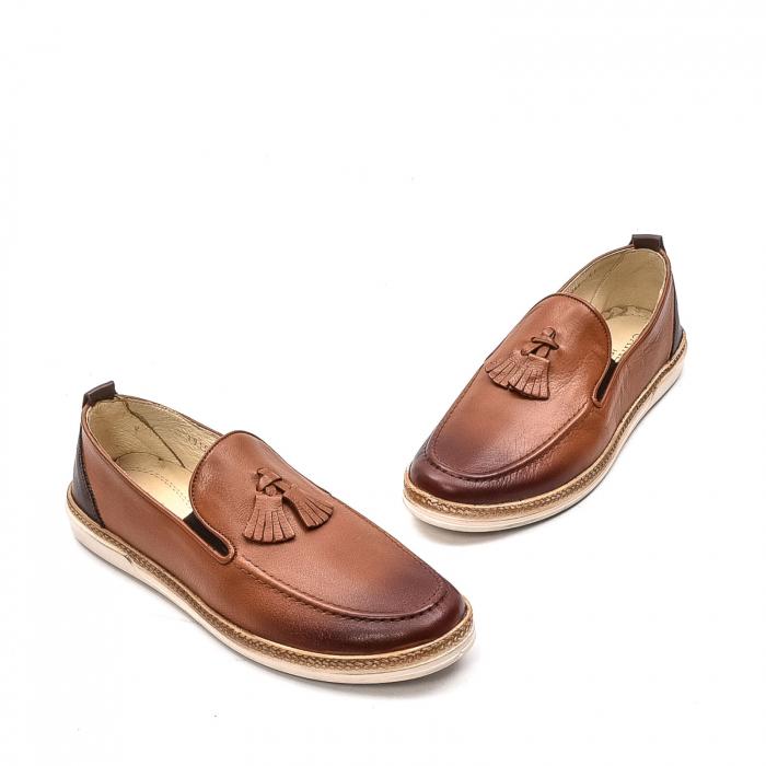Pantofi barbati casual, piele naturala, 191544STAR, coniac 1