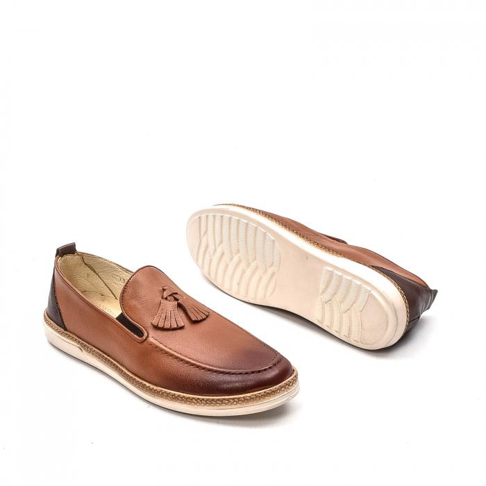 Pantofi barbati casual, piele naturala, 191544STAR, coniac 3