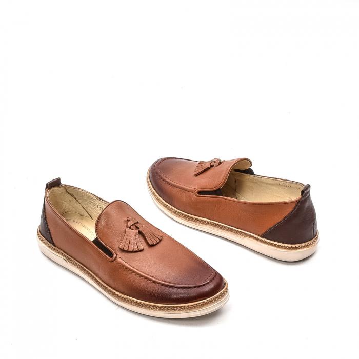 Pantofi barbati casual, piele naturala, 191544STAR, coniac 2