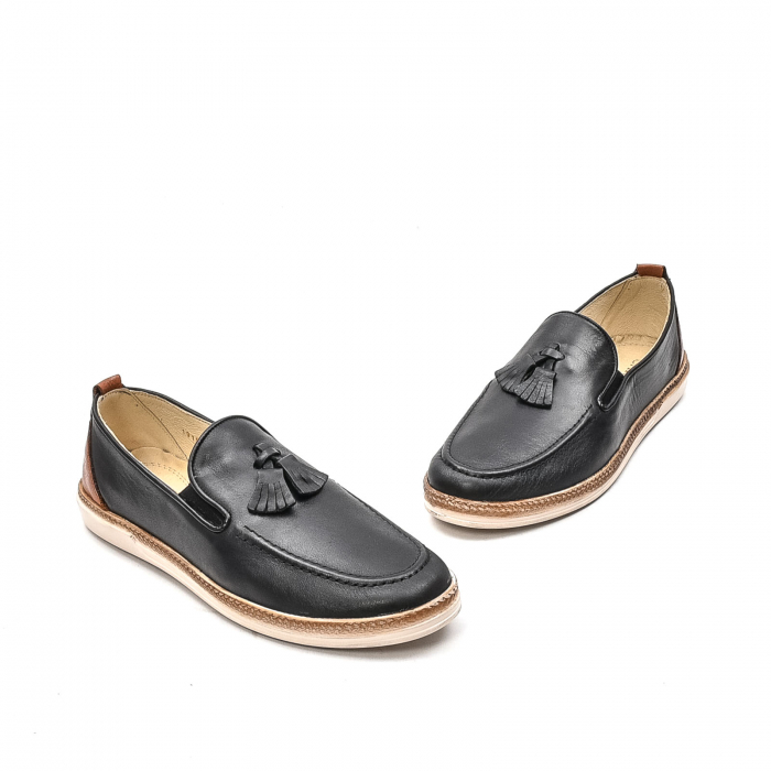 Pantofi barbati casual din piele naturala, 191544STAR, negru 1