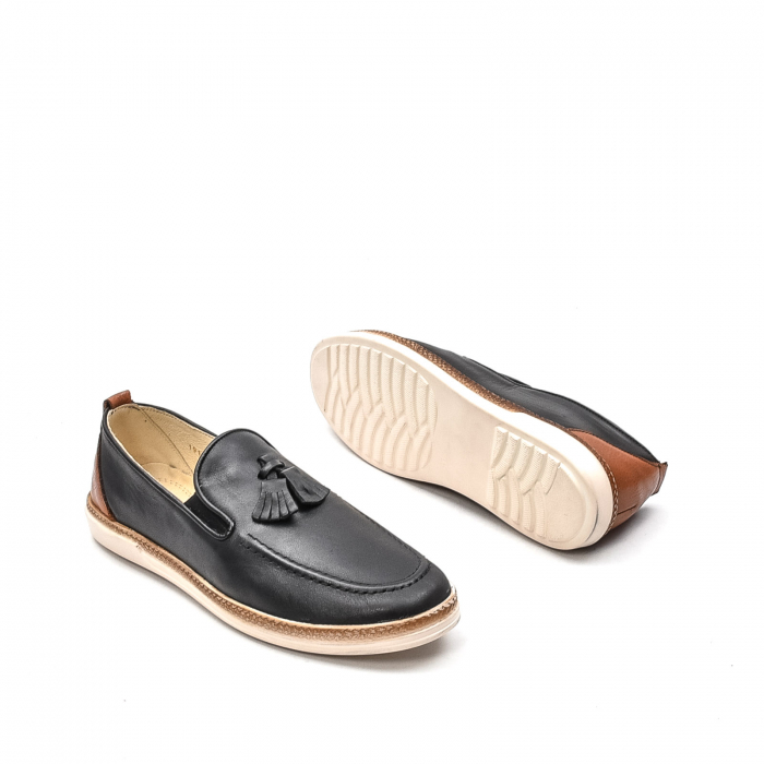 Pantofi barbati casual din piele naturala, 191544STAR, negru 3