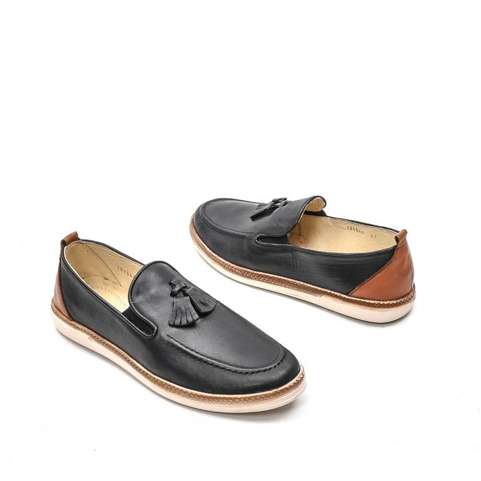 Pantofi barbati casual din piele naturala, 191544STAR, negru 2