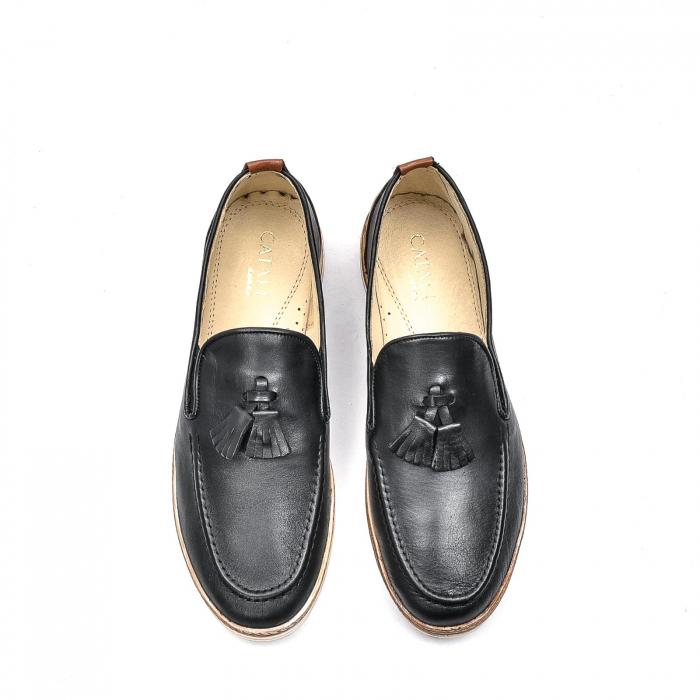 Pantofi barbati casual din piele naturala, 191544STAR, negru 5