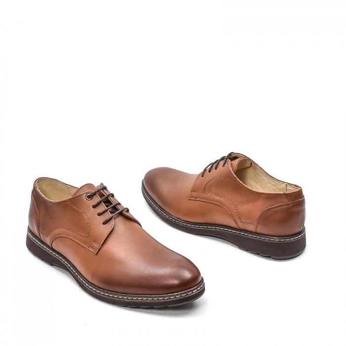 Pantofi barbati casual din piele naturala, 201567NP, maro 2