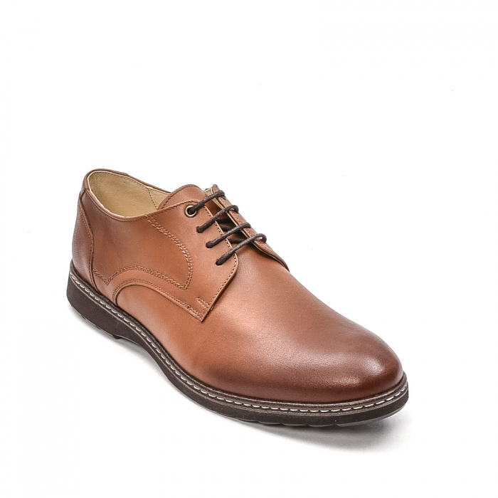 Pantofi barbati casual din piele naturala, 201567NP, maro 0