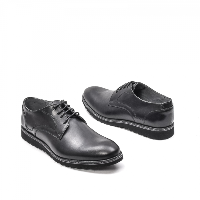 Pantofi barbati casual din piele naturala, 201567NP, negru 2