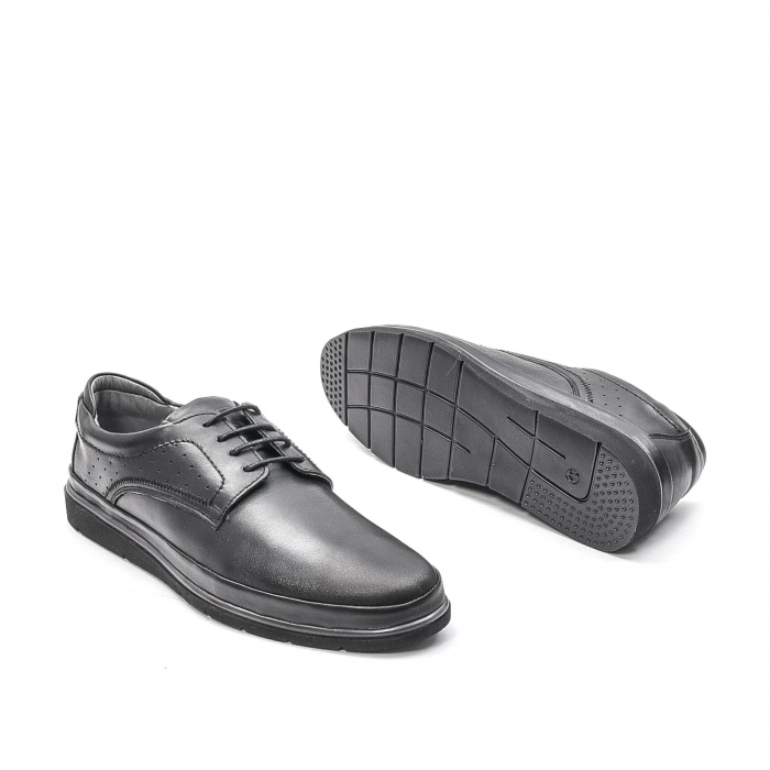 Pantofi barbati casual din piele naturala, 201569NP, negru 3