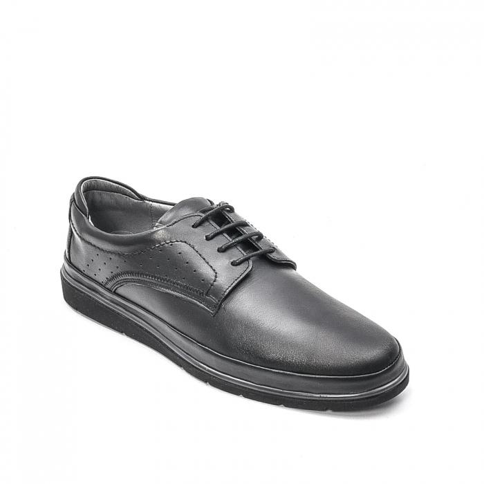 Pantofi barbati casual din piele naturala, 201569NP, negru 0
