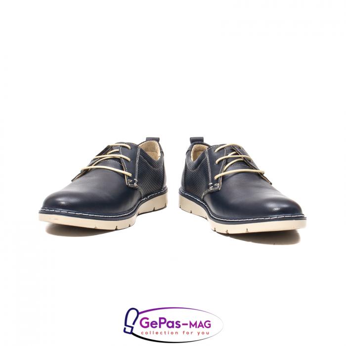Pantofi casual barbat, piele naturala, 5930 bleumarin 4