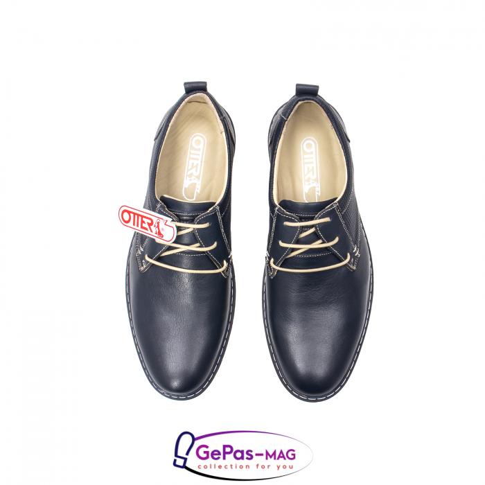 Pantofi casual barbat, piele naturala, 5930 bleumarin 5