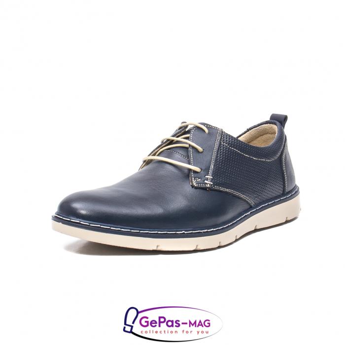 Pantofi casual barbat, piele naturala, 5930 bleumarin 0