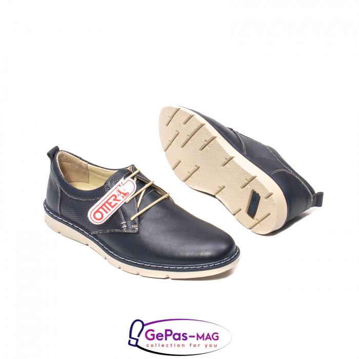 Pantofi casual barbat, piele naturala, 5930 bleumarin 3