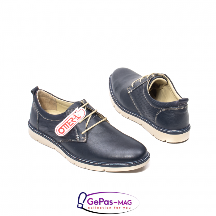 Pantofi casual barbat, piele naturala, 5930 bleumarin 2