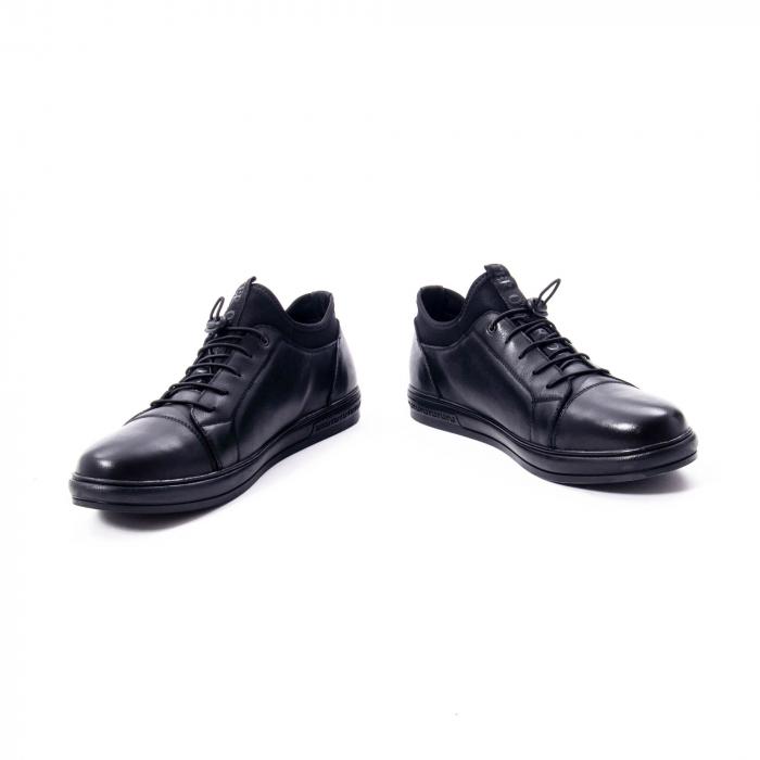 Pantofi casual barbat, piele naturala, Otter QRA42617 01-N negru 4