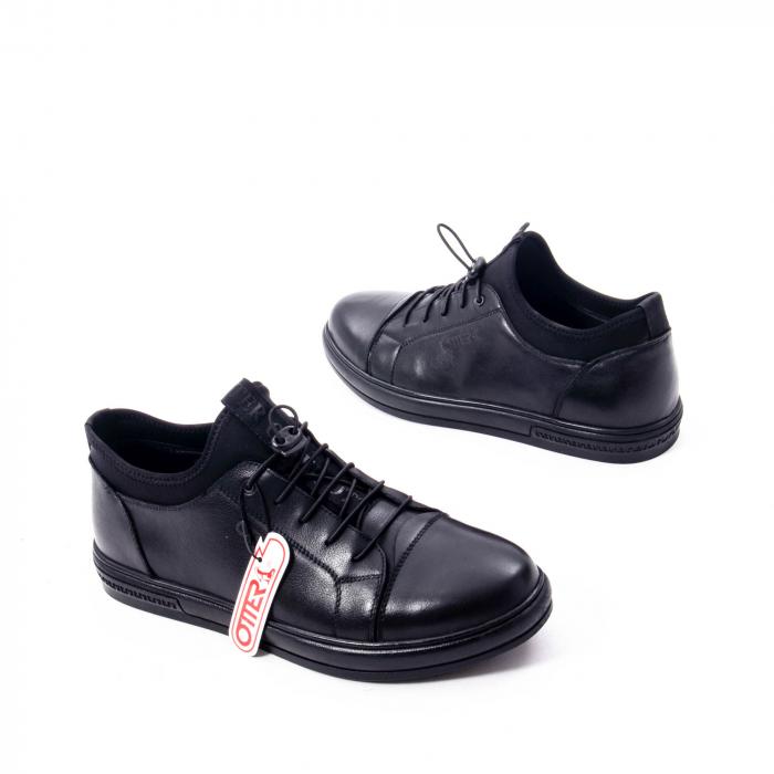 Pantofi casual barbat, piele naturala, Otter QRA42617 01-N negru 2