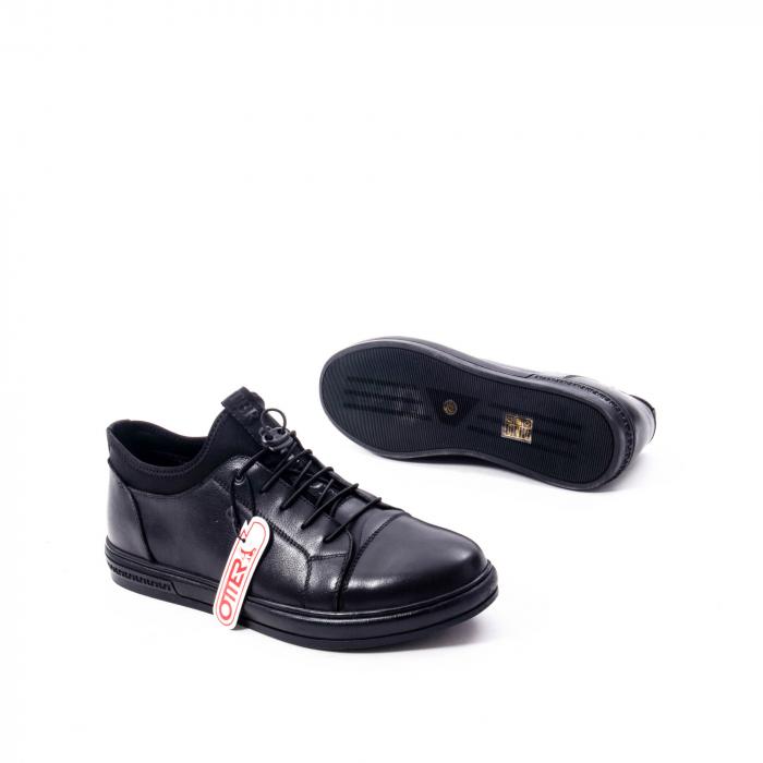 Pantofi casual barbat, piele naturala, Otter QRA42617 01-N negru 3
