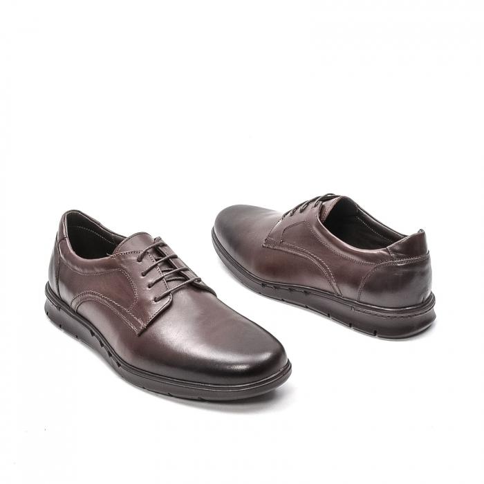 Pantofi barbati casual din piele naturala, 181585CR, maro 2