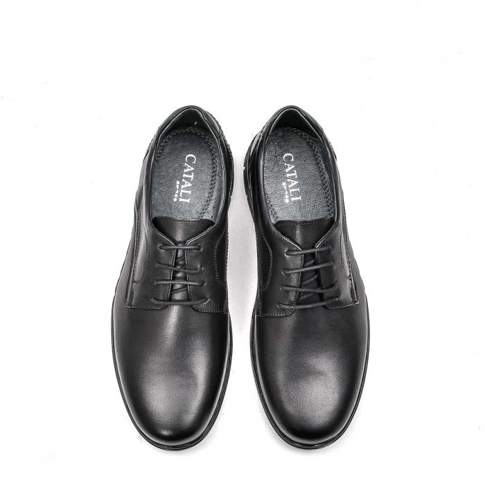 Pantofi barbati casual din piele naturala, 181585CR, negru 5