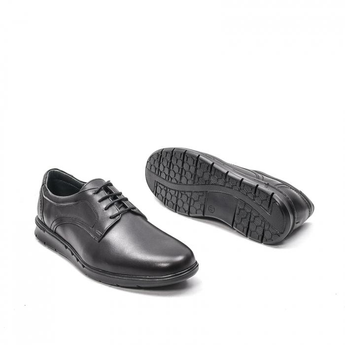 Pantofi barbati casual din piele naturala, 181585CR, negru 3