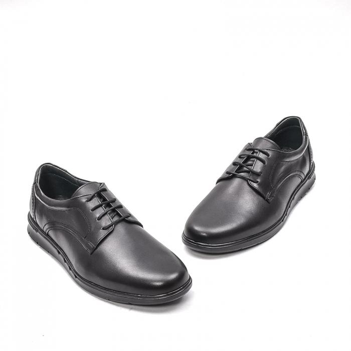 Pantofi barbati casual din piele naturala, 181585CR, negru 1