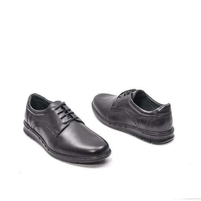 Pantofi barbati casual din piele naturala, 181585CR, negru 2