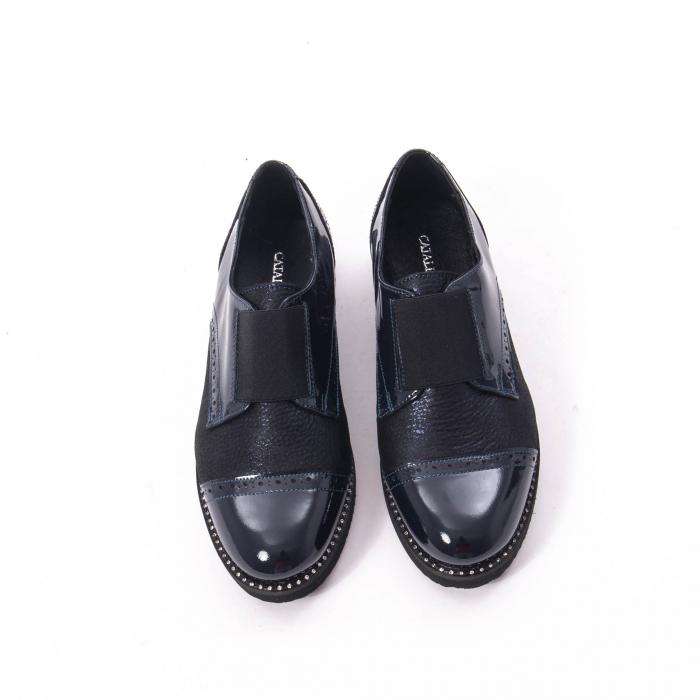 Pantofi casual dama piele naturala lacuita Catali 182632, bleumarin 5