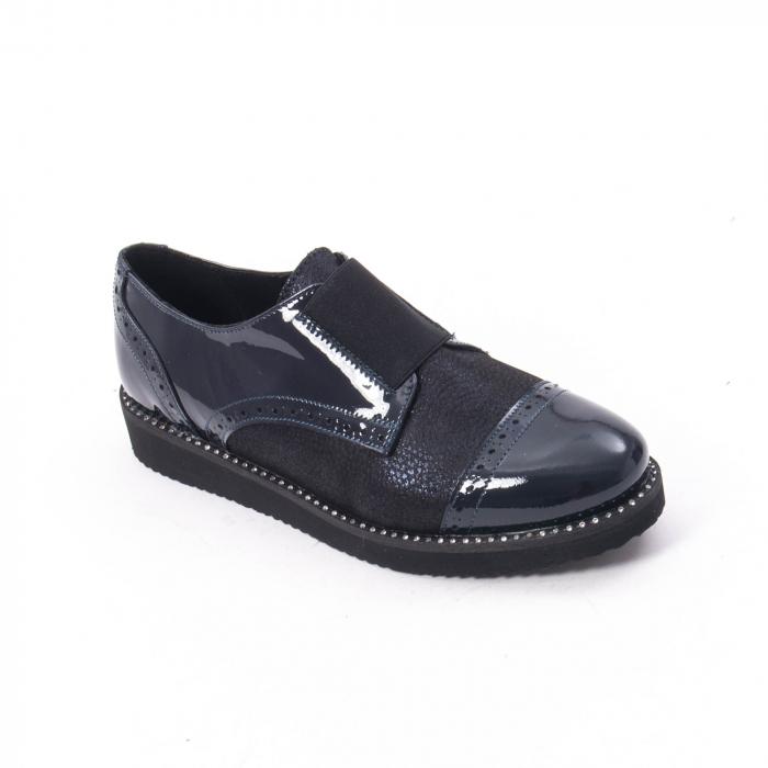 Pantofi casual dama piele naturala lacuita Catali 182632, bleumarin 0