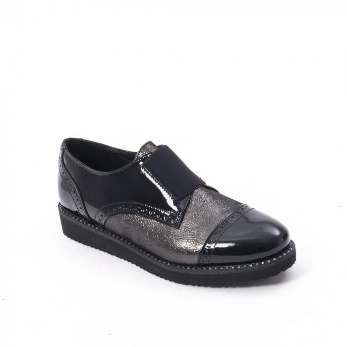 Pantofi casual dama din piele naturala lacuita Catali 182632, negru 0