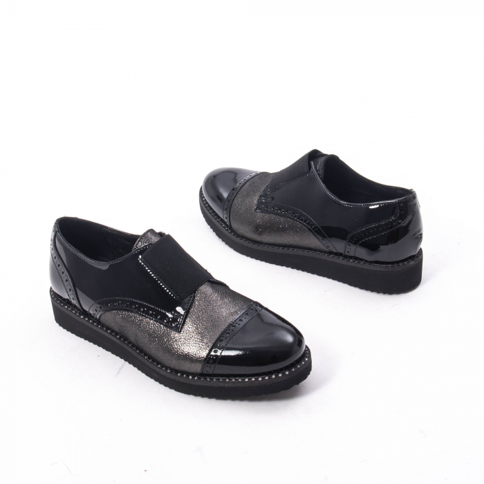 Pantofi casual dama din piele naturala lacuita Catali 182632, negru 1