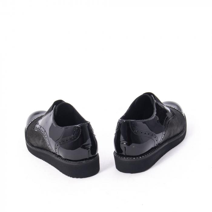 Pantofi casual dama din piele naturala lacuita Catali 182632, negru 2