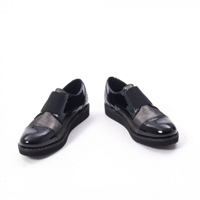Pantofi casual dama din piele naturala lacuita Catali 182632, negru 3