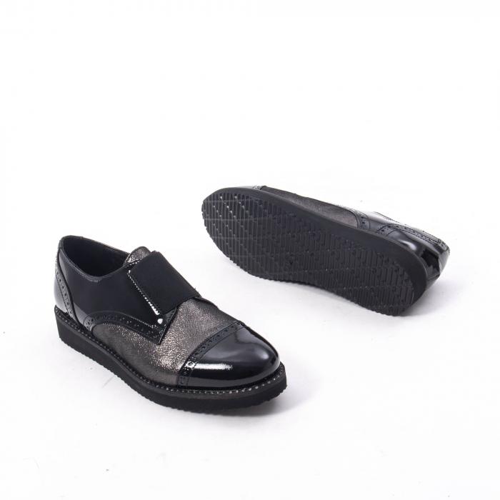 Pantofi casual dama din piele naturala lacuita Catali 182632, negru 4