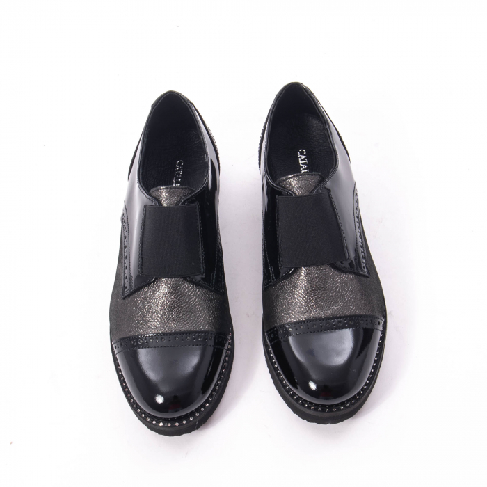 Pantofi casual dama din piele naturala lacuita Catali 182632, negru 5