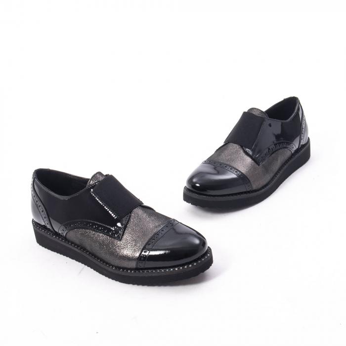 Pantofi casual dama din piele naturala lacuita Catali 182632, negru 6