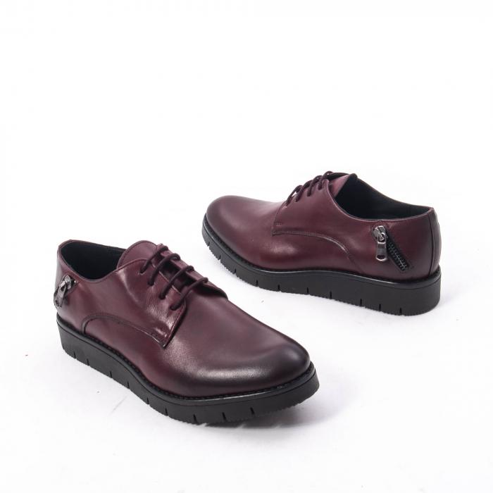 Pantofi casual dama, piele naturala Catali 162602 bordo 2