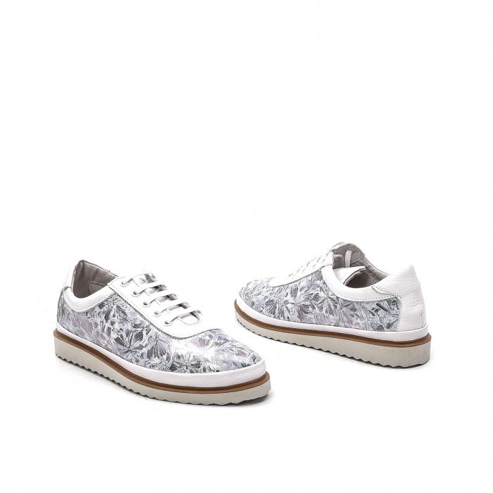 Pantofi dama casual din piele naturala, 171608NP, alb 2