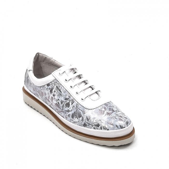 Pantofi dama casual din piele naturala, 171608NP, alb 0